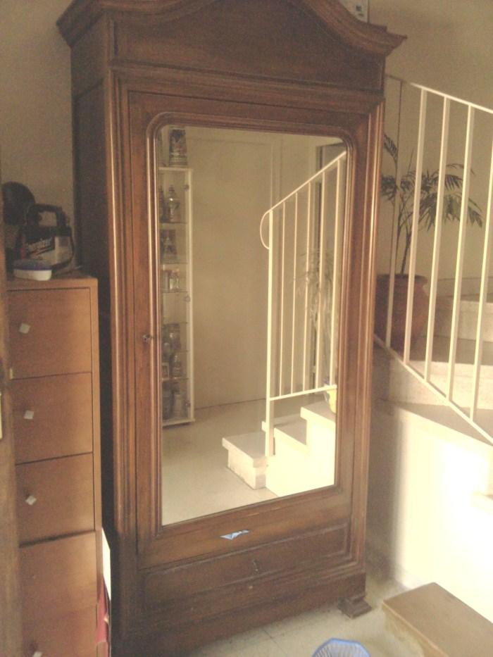 armoire ancienne grande glace debut 20eme saint didier sous aibenas ard che. Black Bedroom Furniture Sets. Home Design Ideas