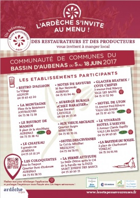 « L'Ardèche s'invite au menu ! » 2017