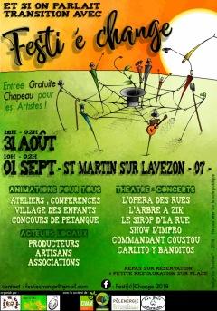 """Festival """"Festi é Change"""" du 31/08/18 a"""
