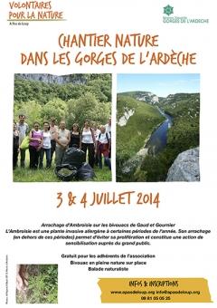 Chantier Nature dans les Gorges de l'Ardèche 2014